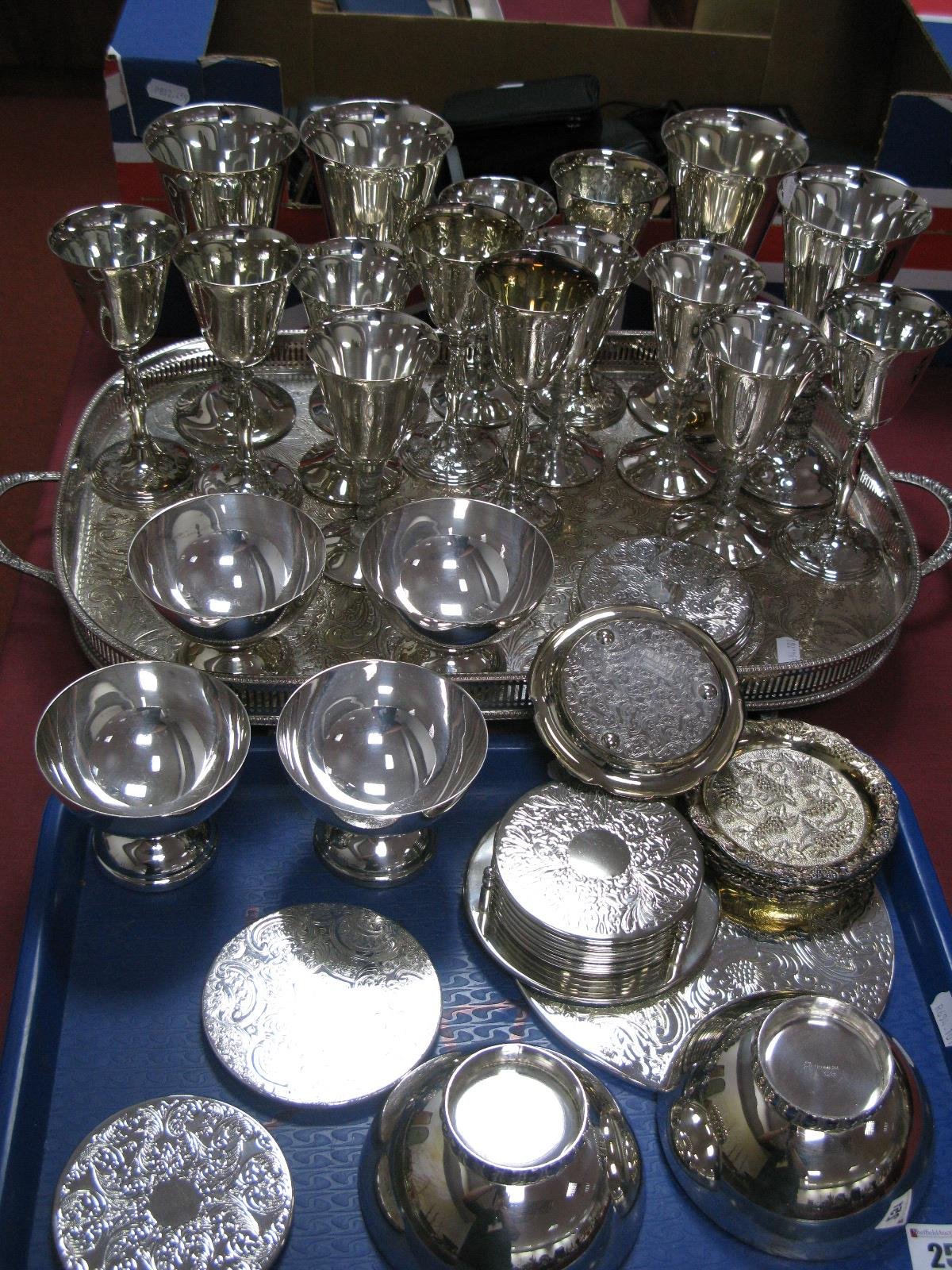 Lot 251 - Assorted Plated Goblets, rectangular twin handled tray, sundae dishes, place mats and coasters,