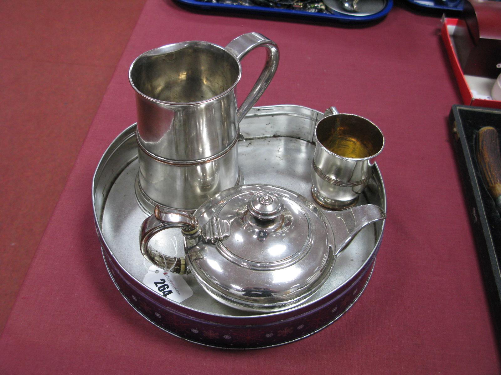 Lot 264 - A Matthew Boulton Plated on Copper XIX Century Bachelor's Tea Pot, of compressed circular form