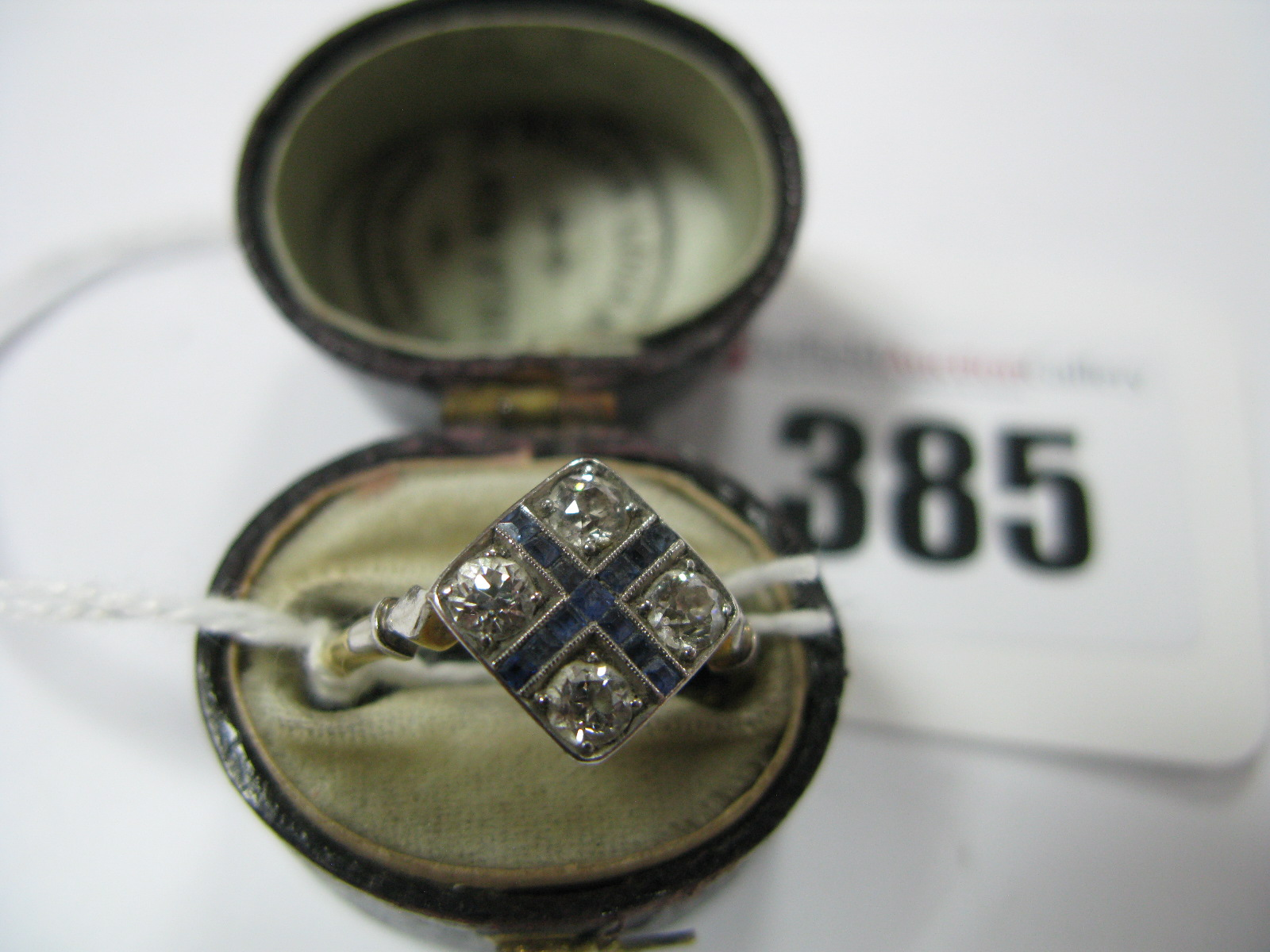 Lot 385 - A Diamond Set Art Deco Style Dress Ring, the four old cut stones claw set in rectangular setting,