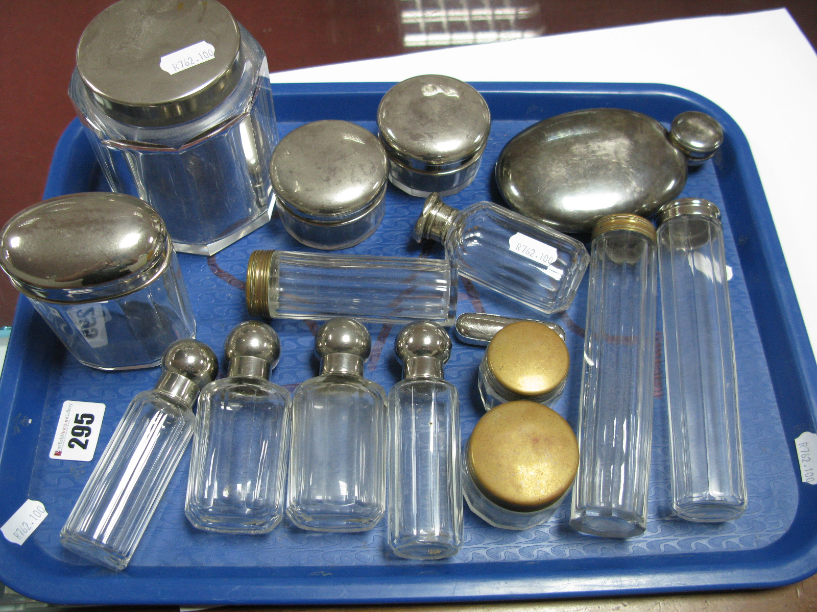 Lot 295 - A Collection of Assorted Travelling Jars/Bottles, including a hallmarked silver example, etc:- One