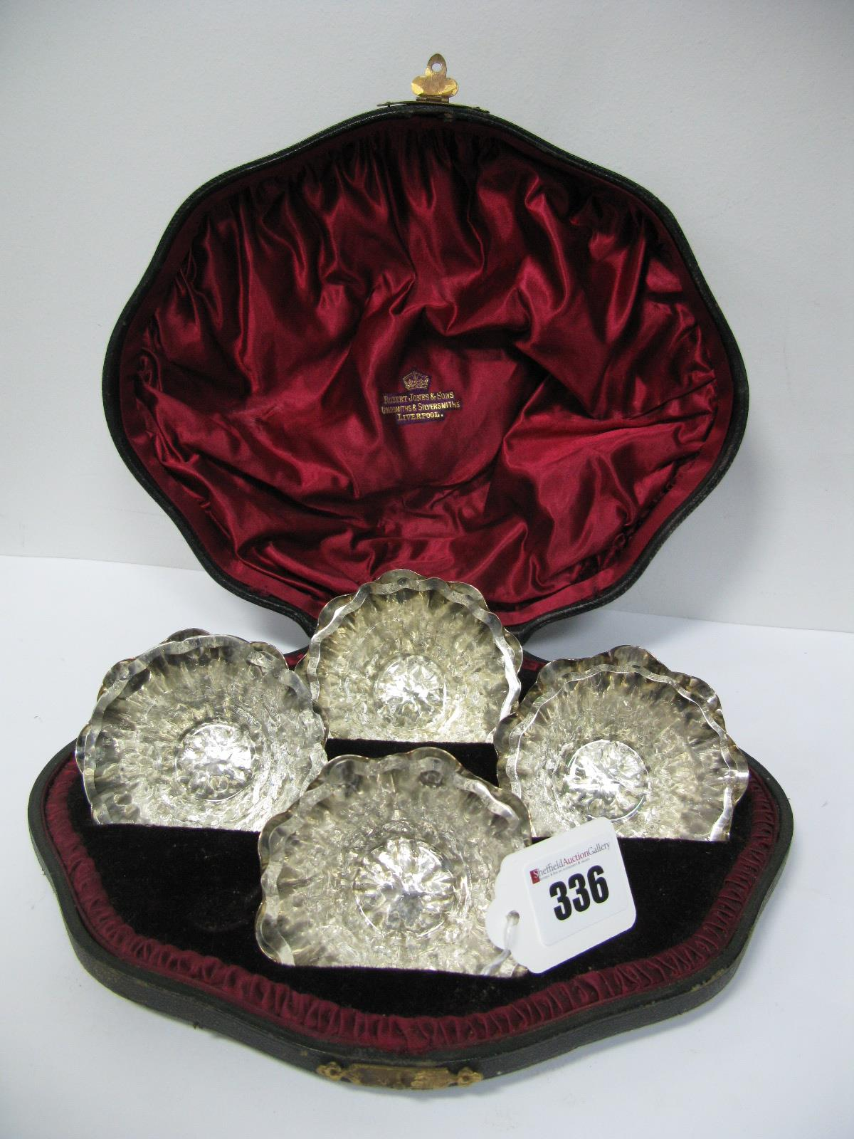 Lot 336 - A Set of Four Hallmarked Silver Salts, John Heath & John Middleton, of signature textured style,