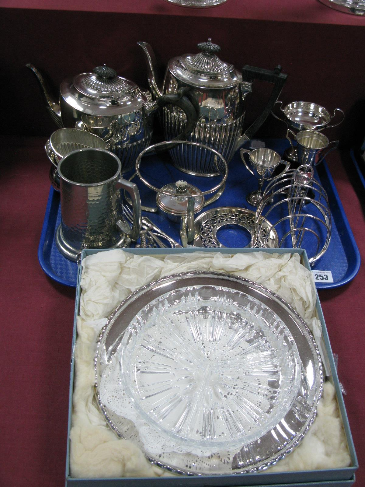 Lot 253 - Plated Trophy Cups, tea ware, hors d'oeuvre's dish, burner stand, two pairs of knife rests, etc:-