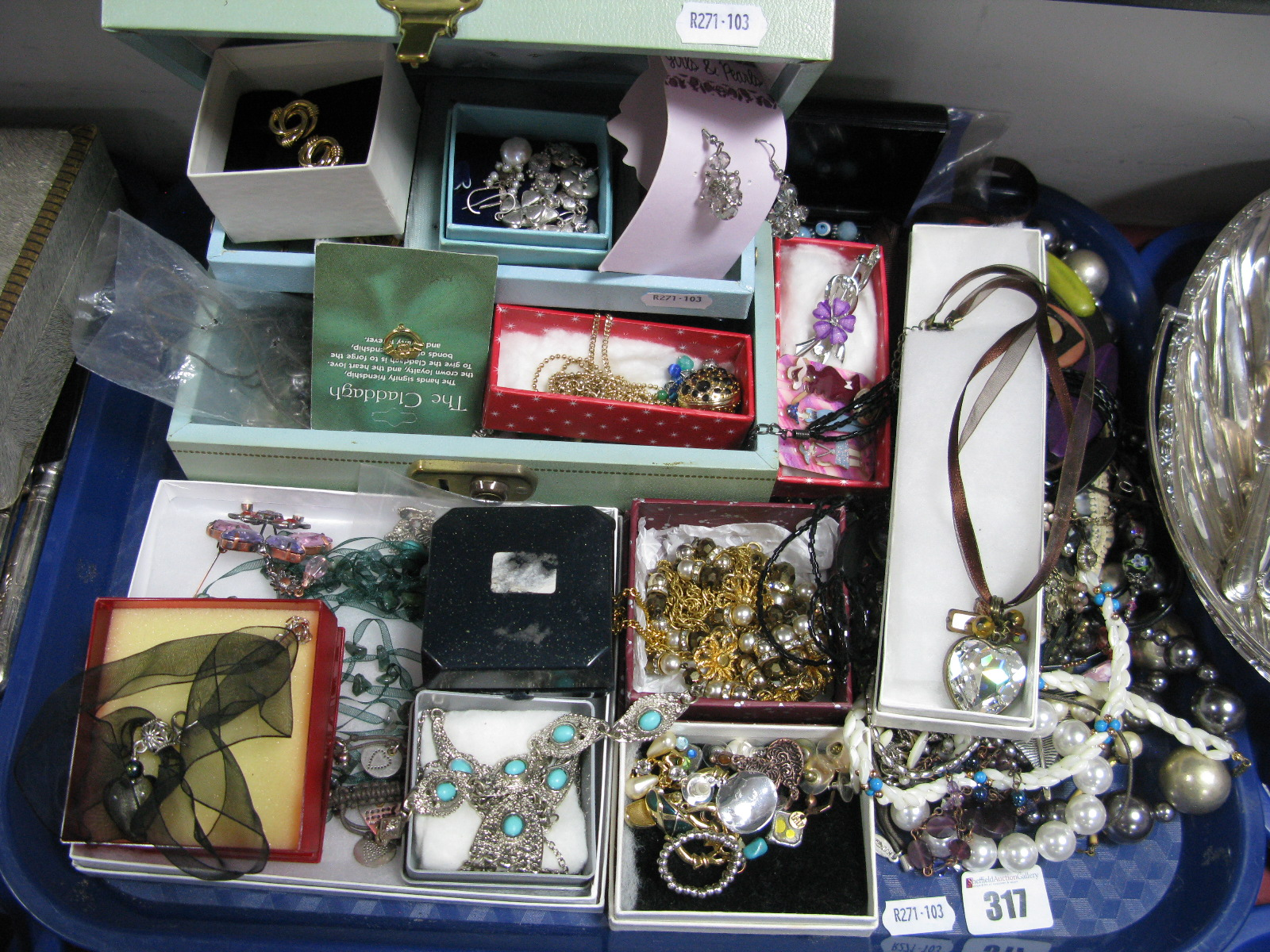 Lot 317 - A Mixed Lot of Assorted Costume Jewellery, including bead necklaces, brooches, panel style bracelet,