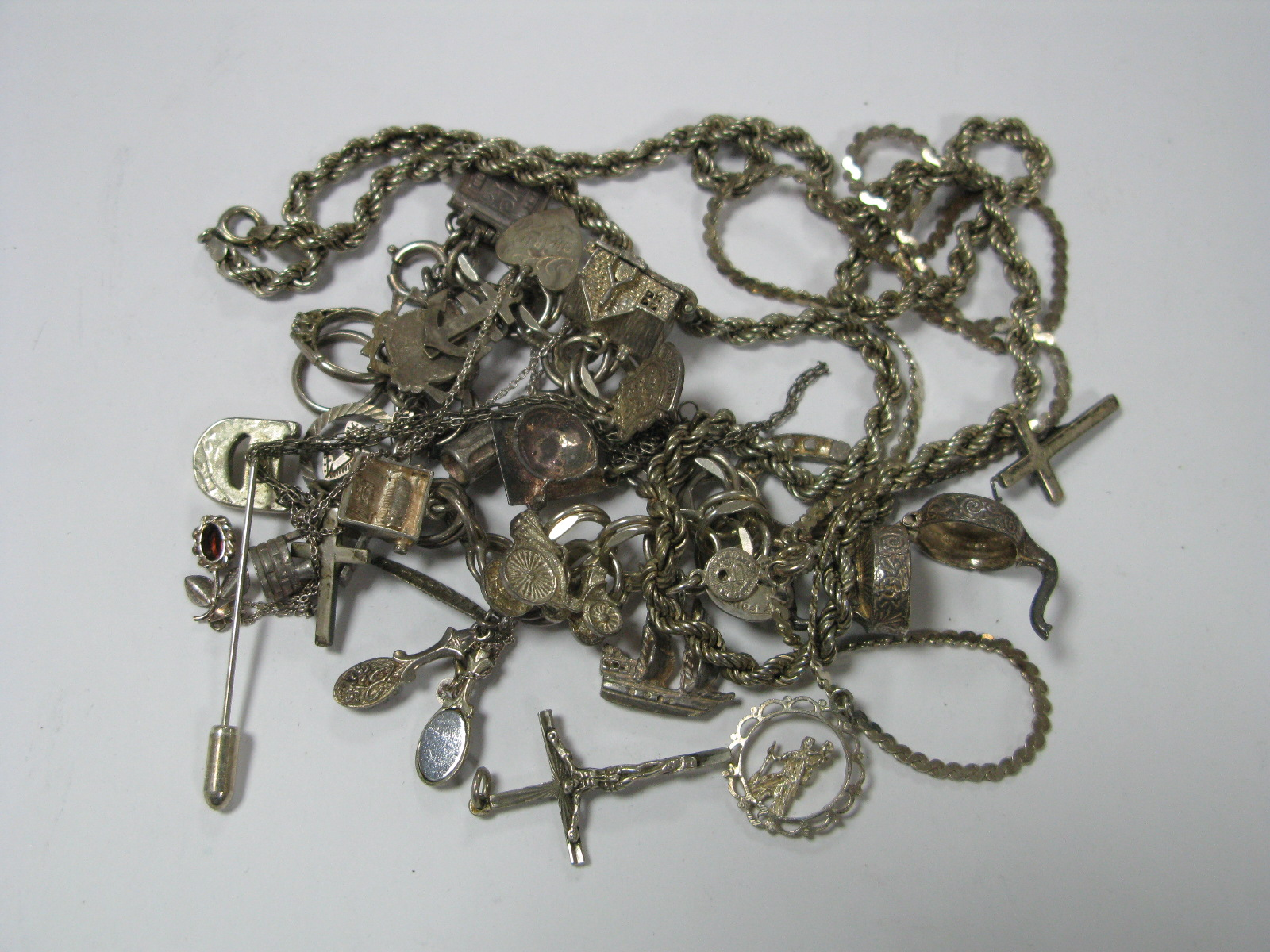 """Lot 352 - A Double Curb Link Bracelet, stamped """"Sterling"""" to fastener, suspending novelty charms, including"""
