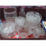 Cut glass Vase, etched signature to base, cut glass fruit bowls, dishes, decanter, jug, punch cups