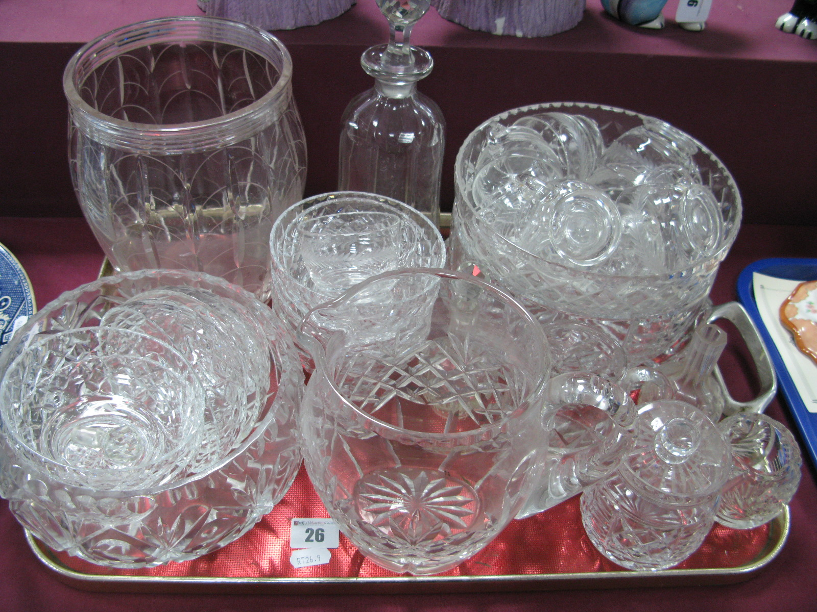 Lot 26 - Cut glass Vase, etched signature to base, cut glass fruit bowls, dishes, decanter, jug, punch cups