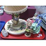 Royal Doulton Series Ware Plates, Royal Doulton figures, Hummel table lamp etc:- One Tray