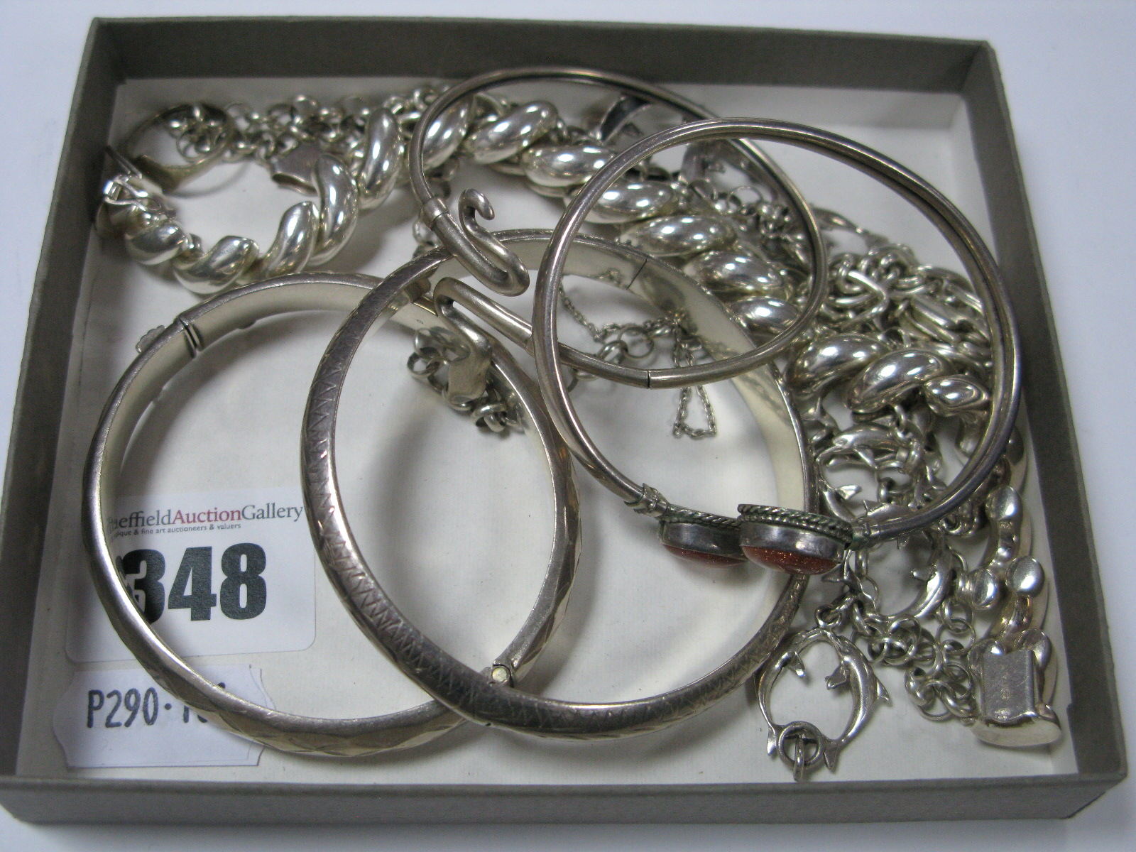 """Lot 348 - A Selection of """"925"""" and Other Modern Bracelets, bangles and a belcher link chain, including a"""