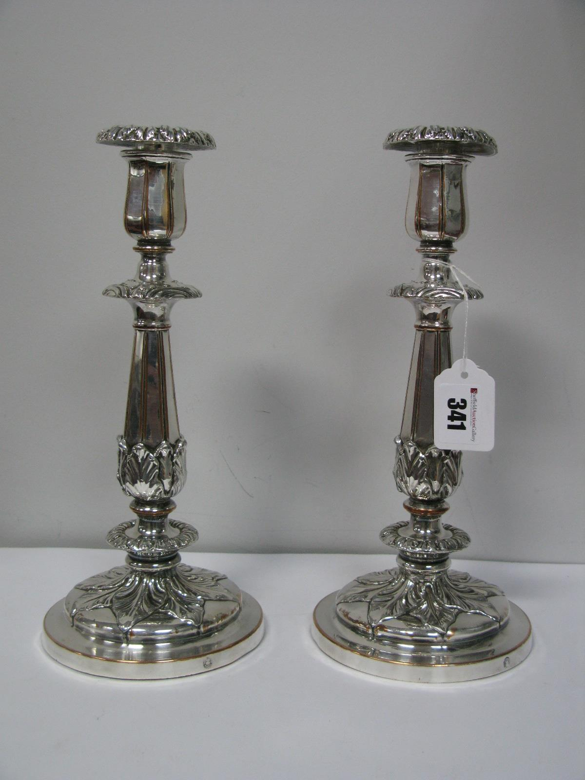 Lot 341 - A Pair of Sissons XIX Century Plated Candlesticks, each of stylised design with removable nozzle, on