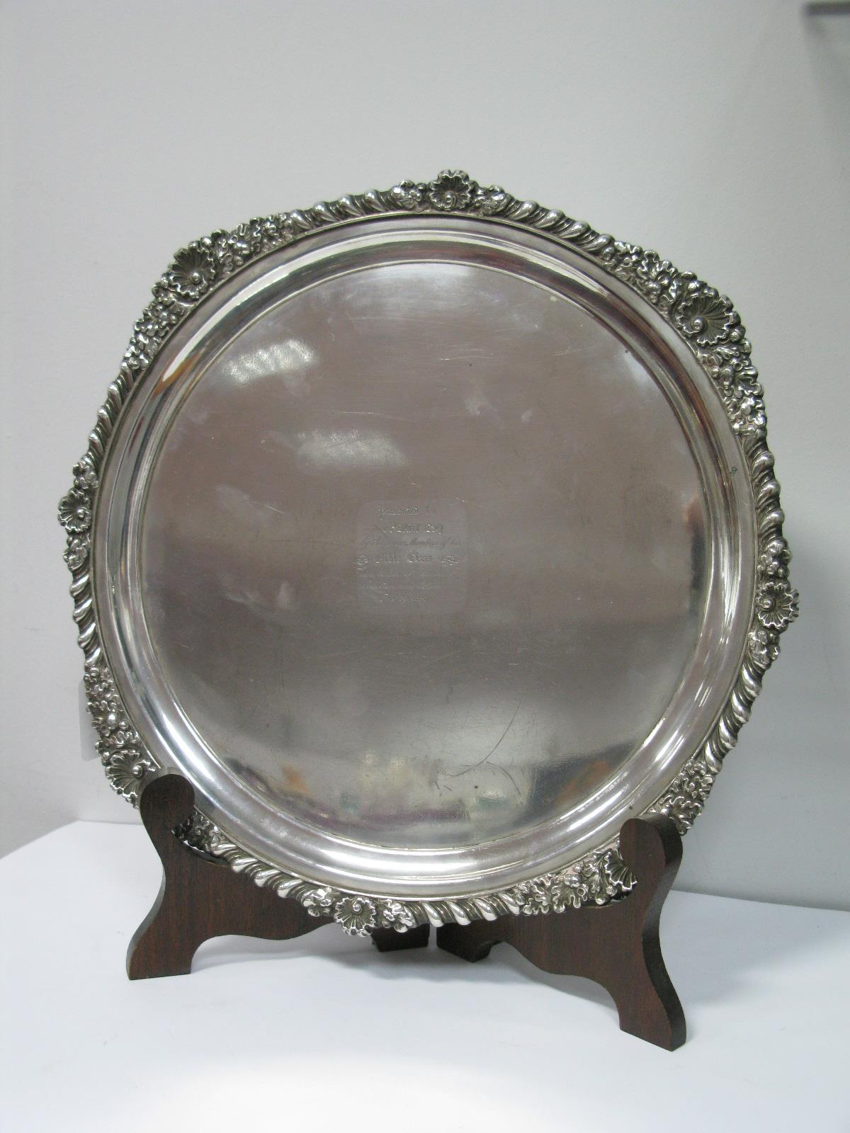 Lot 342 - A XIX Century Old Sheffield Plate Salver, of plain design with gadrooned edge, inscribed ""