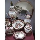 "Masons Ironstone ""Mandalay Red"" Table Lamp, vase, jug, bowl, ginger jar-cover quartz clock dish. ("