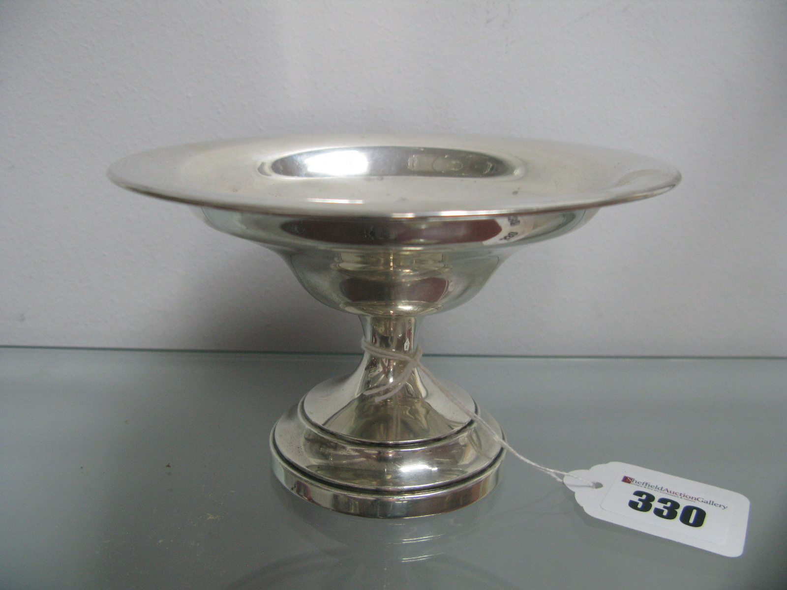 Lot 330 - A Hallmarked Silver Pedestal Dish, (base weighted), 14cm diameter.