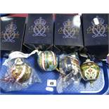 Four Royal Crown Derby Imari Christmas Baubles, all boxed. (4)