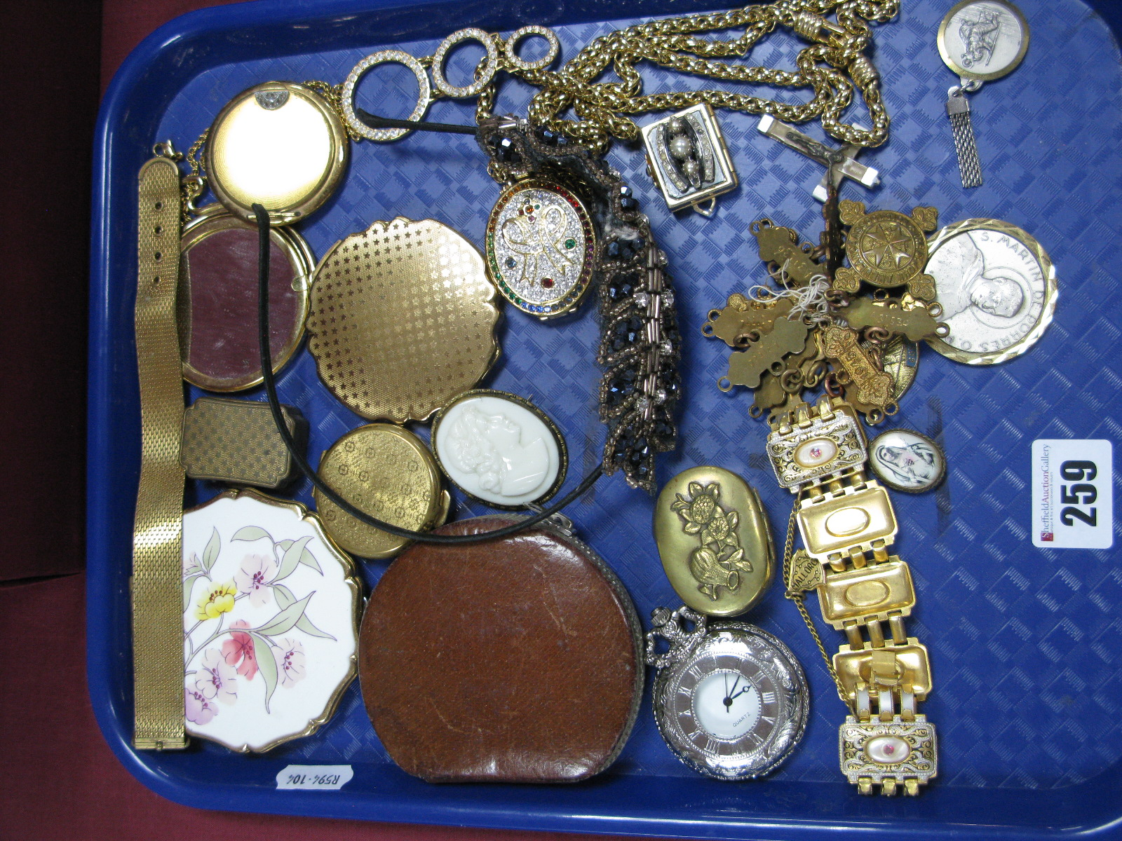 Lot 259 - Ladies Compact and Pill Boxes, a rectangular ornate panel style bracelet, a quartz pocketwatch, a