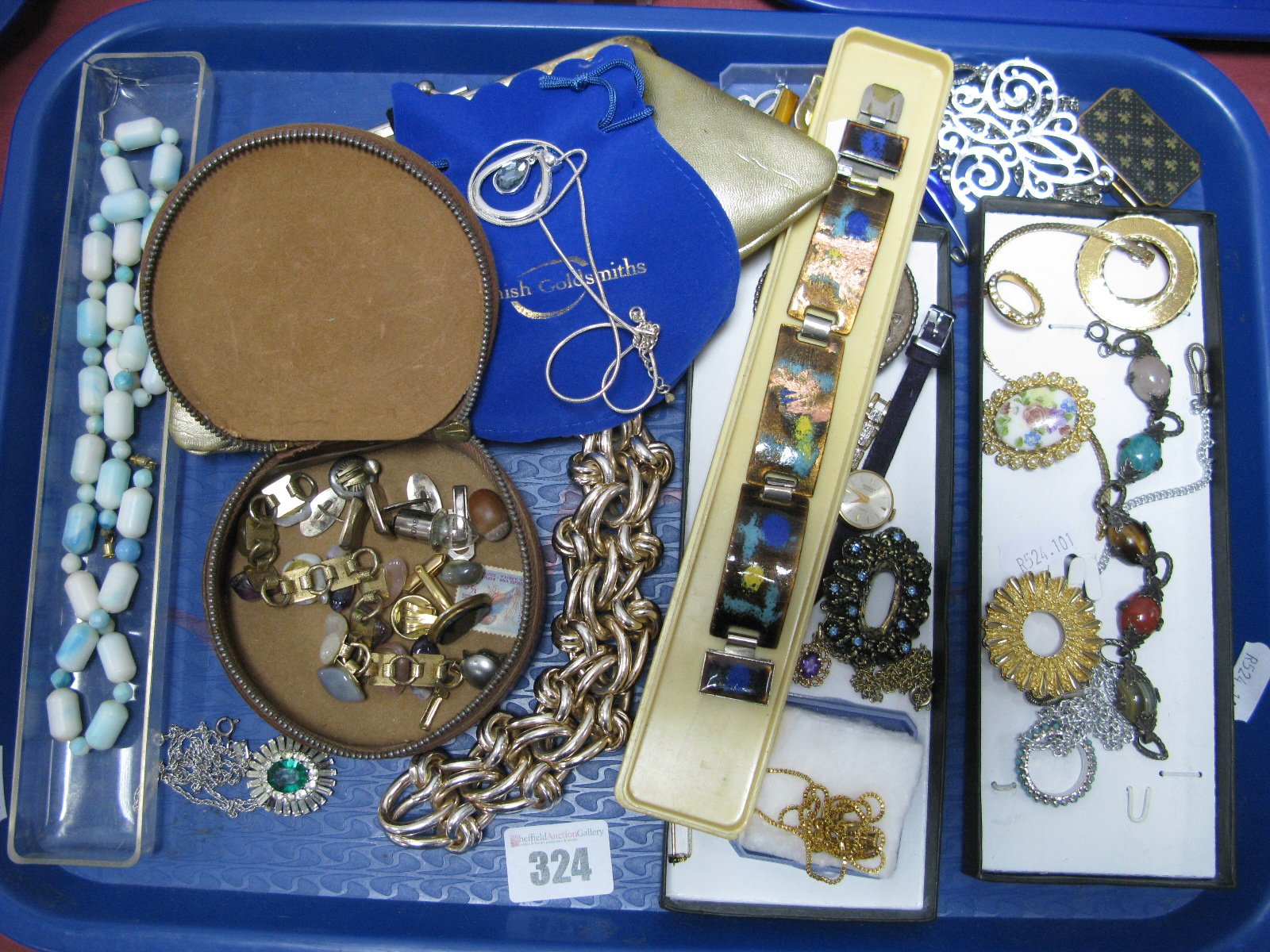 """Lot 324 - Assorted Costume Jewellery, including enamel panel bracelet, """"Miracle Creation"""" brooch, gent's"""