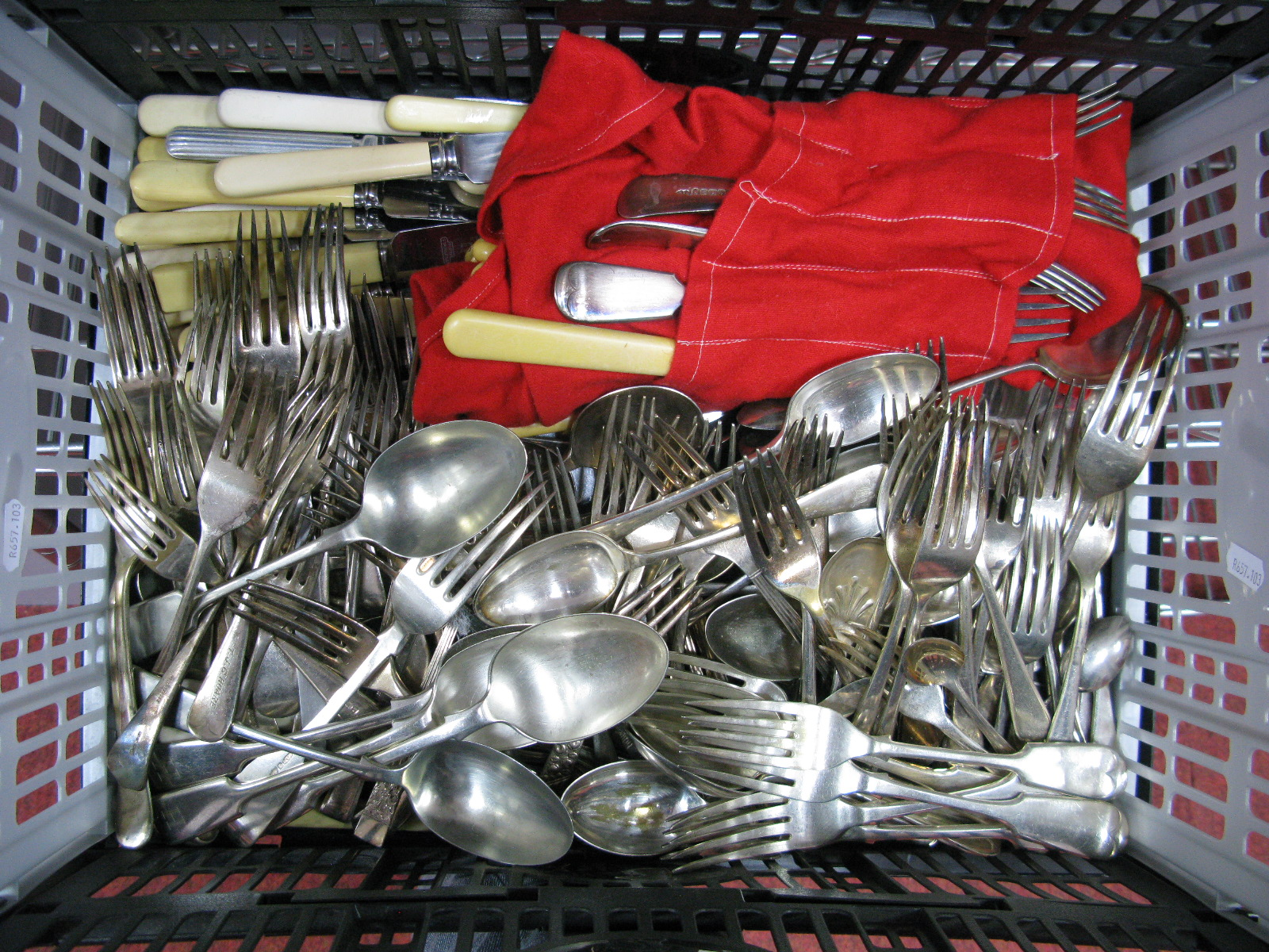 Lot 182 - A Large Mixed Lot of Assorted Plated Cutlery:- One Box