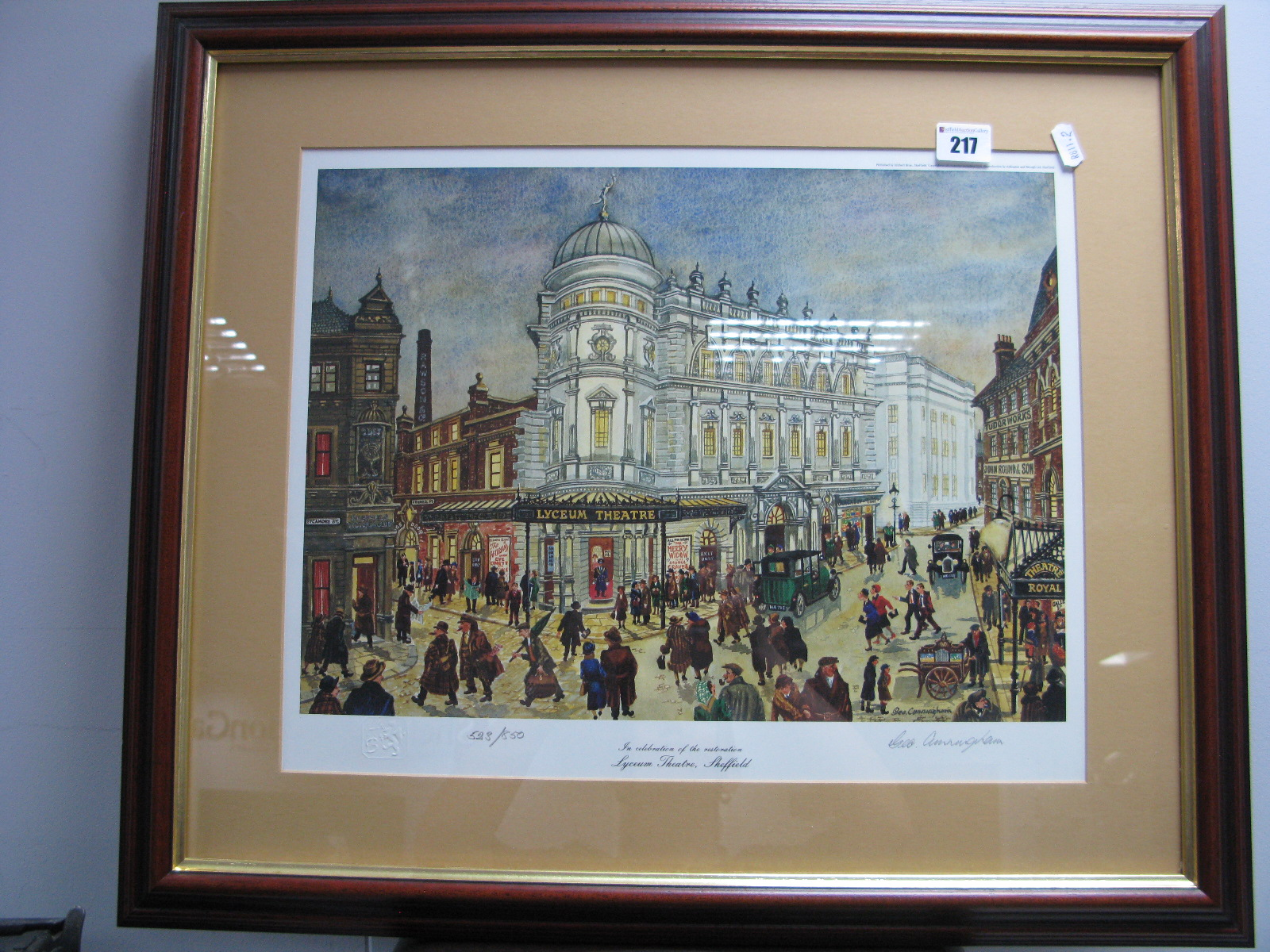Lot 217 - George Cunningham 'Lyceum Theatre,Sheffield' Limited Edition Colour Print of 850, graphite signed,