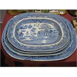 Four Blue and White Willow Pattern Pottery Meat Plates.
