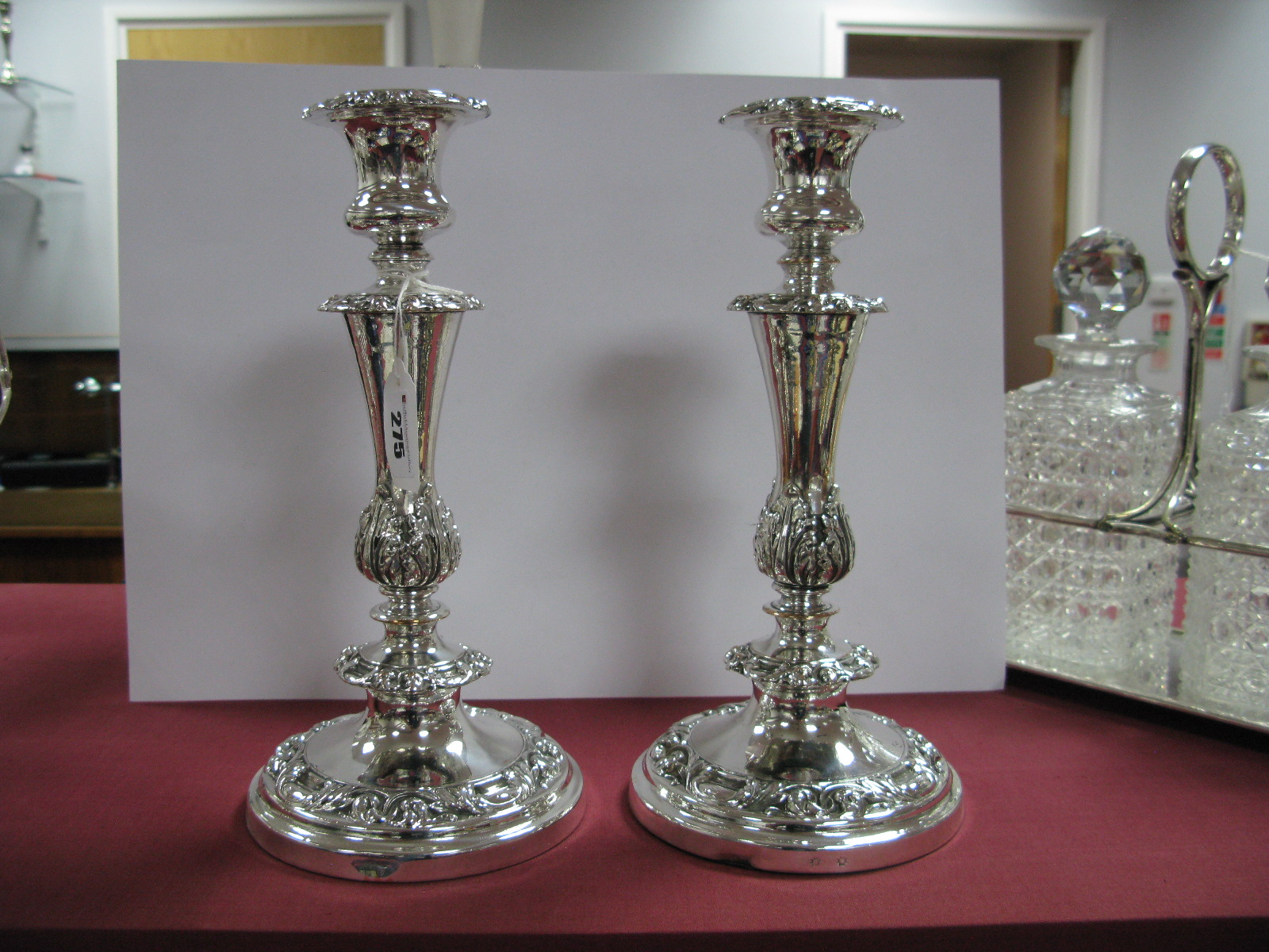 Lot 275 - Matthew Boulton; A Pair of XIX Century Plated Candlesticks, each of tapering circular form with
