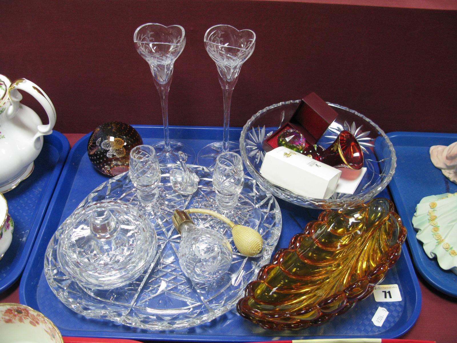 Lot 71 - Swarovski - Crystal Figures, Edinburgh tray, Brierley trinkets, Caithness paperweight etc:- One