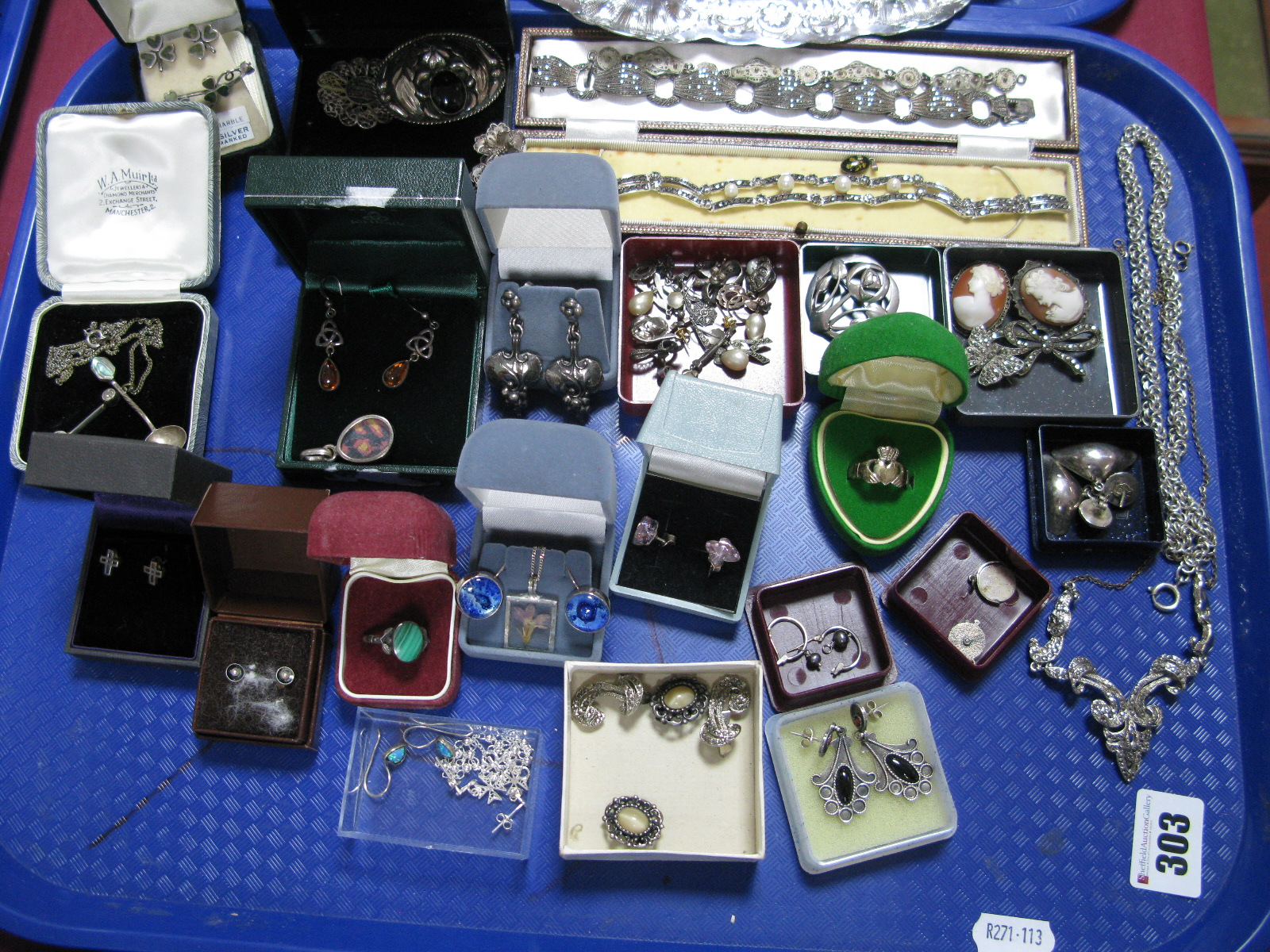 "Lot 303 - A Mixed Lot of Vintage and Later ""925"" and Other Costume Jewellery, including shamrock style ear"