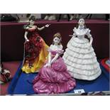 Coalport Figurines 'Melanie' and 'Mary' and Doulton 'Belle' HN3703. (3)