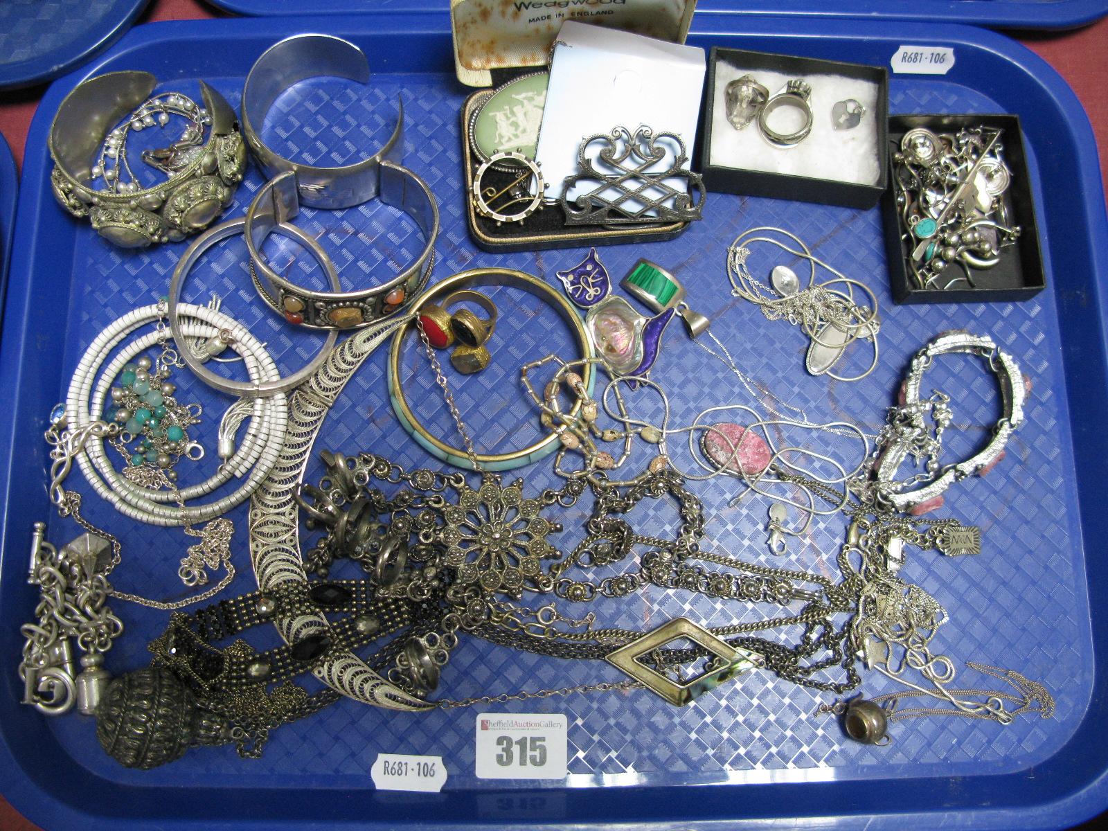Lot 315 - A Hallmarked Silver Part Ladies Buckle, of openwork textured design, a Wedgwood green Jasperware