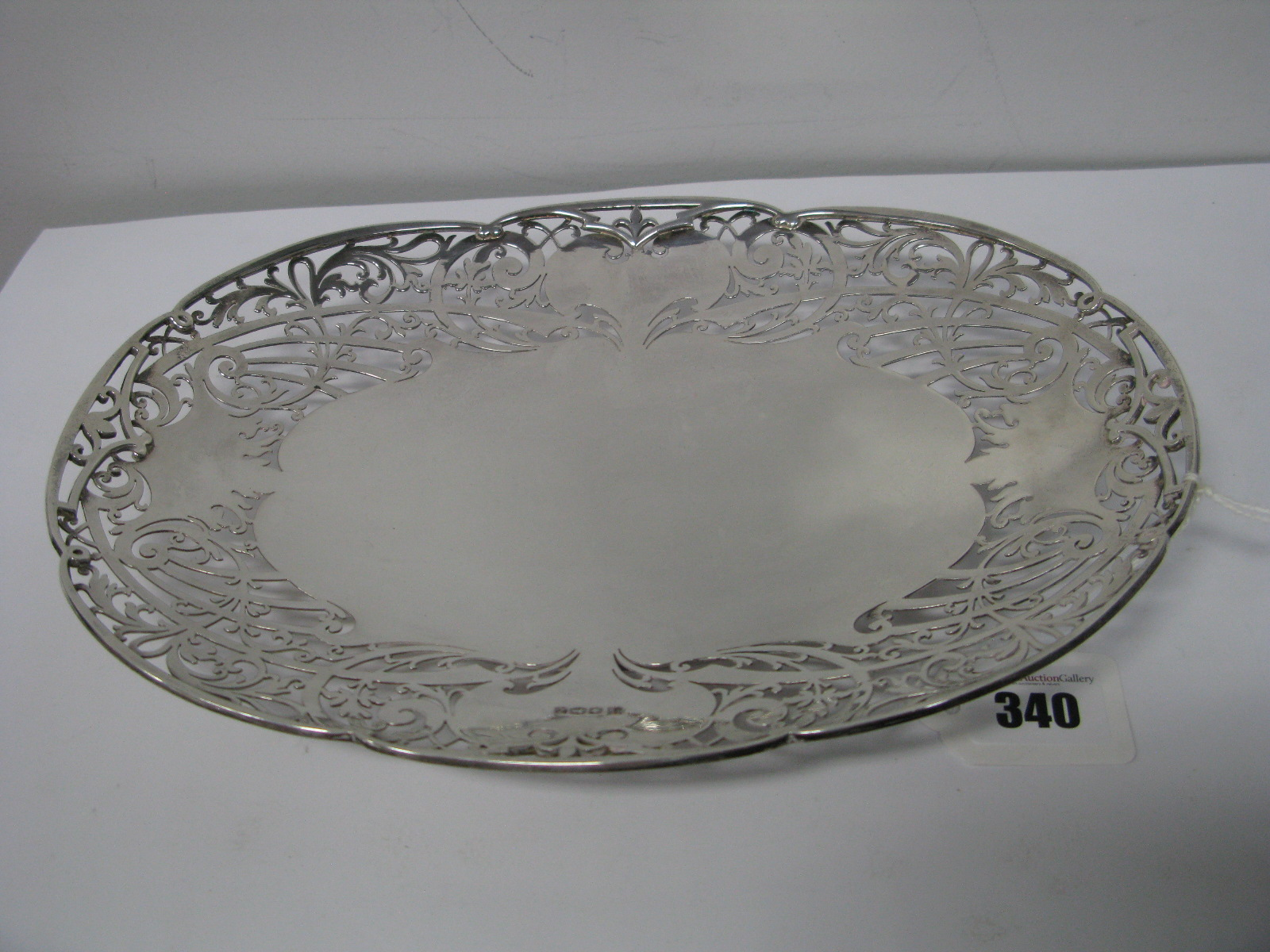 Lot 340 - A Decorative Hallmarked Silver Dish, CB&S, Sheffield 1942, of oval form, the wide rim of openwork