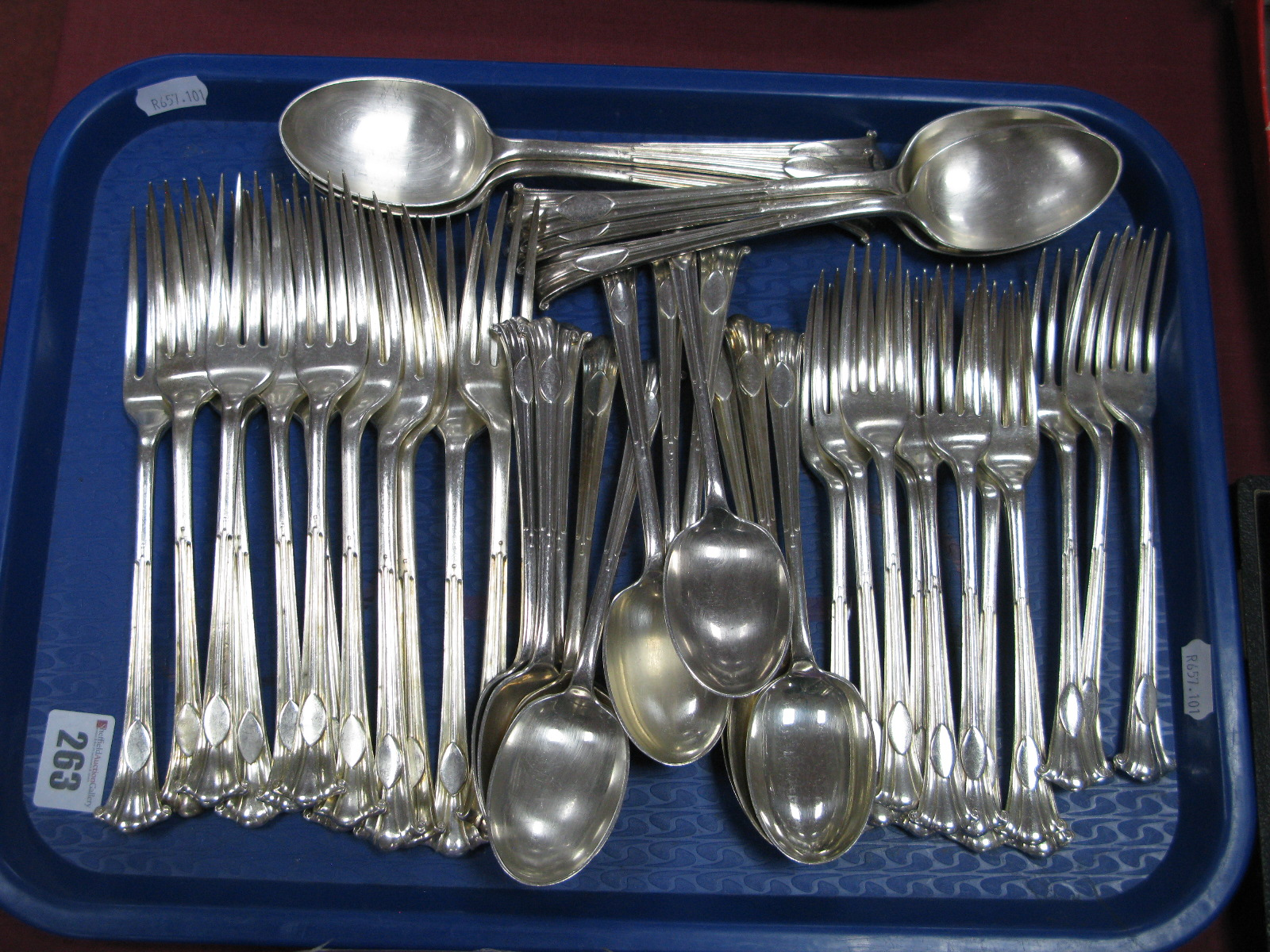 Lot 263 - A Part Canteen of Mappin & Webb Albany Pattern Plated Cutlery:- One Tray