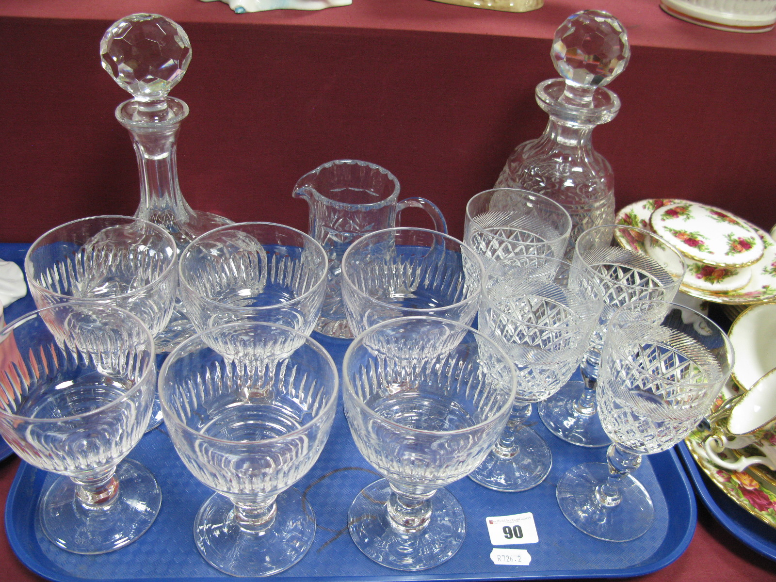 Lot 90 - A Set of Six Stuart Wine Glasses, decanters, four Webb wine glasses:- One Tray