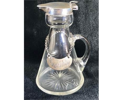 Silver Hallmarked Noggin Glass flask with Silver lid and collar and Hallmarked Silver Decanter plaque reading Whiskey