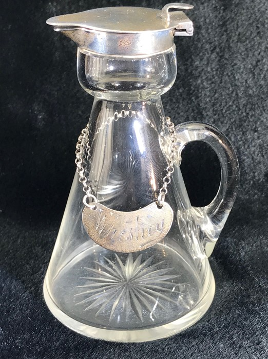 Silver Hallmarked Noggin Glass flask with Silver lid and collar and Hallmarked Silver Decanter