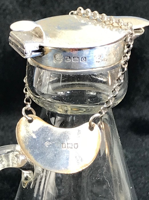 Silver Hallmarked Noggin Glass flask with Silver lid and collar and Hallmarked Silver Decanter - Image 5 of 6