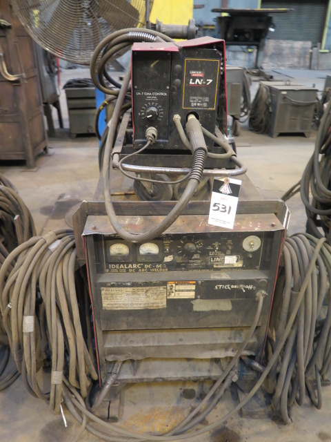 Lot 531 - Lincoln Idealarc DC-600 VV-CV DC Arc Welding Power Source w/ Lincoln LN-7 Wire Feeder