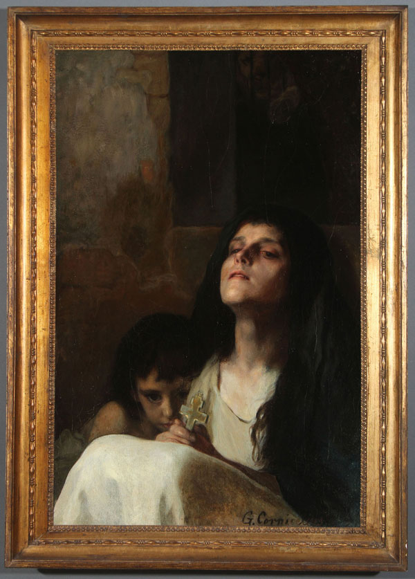 Lot 412 - GEORG CORNICELIUS(German 1825-1898) Faith  Oil on canvas Signed lower right G. Cornicelius and