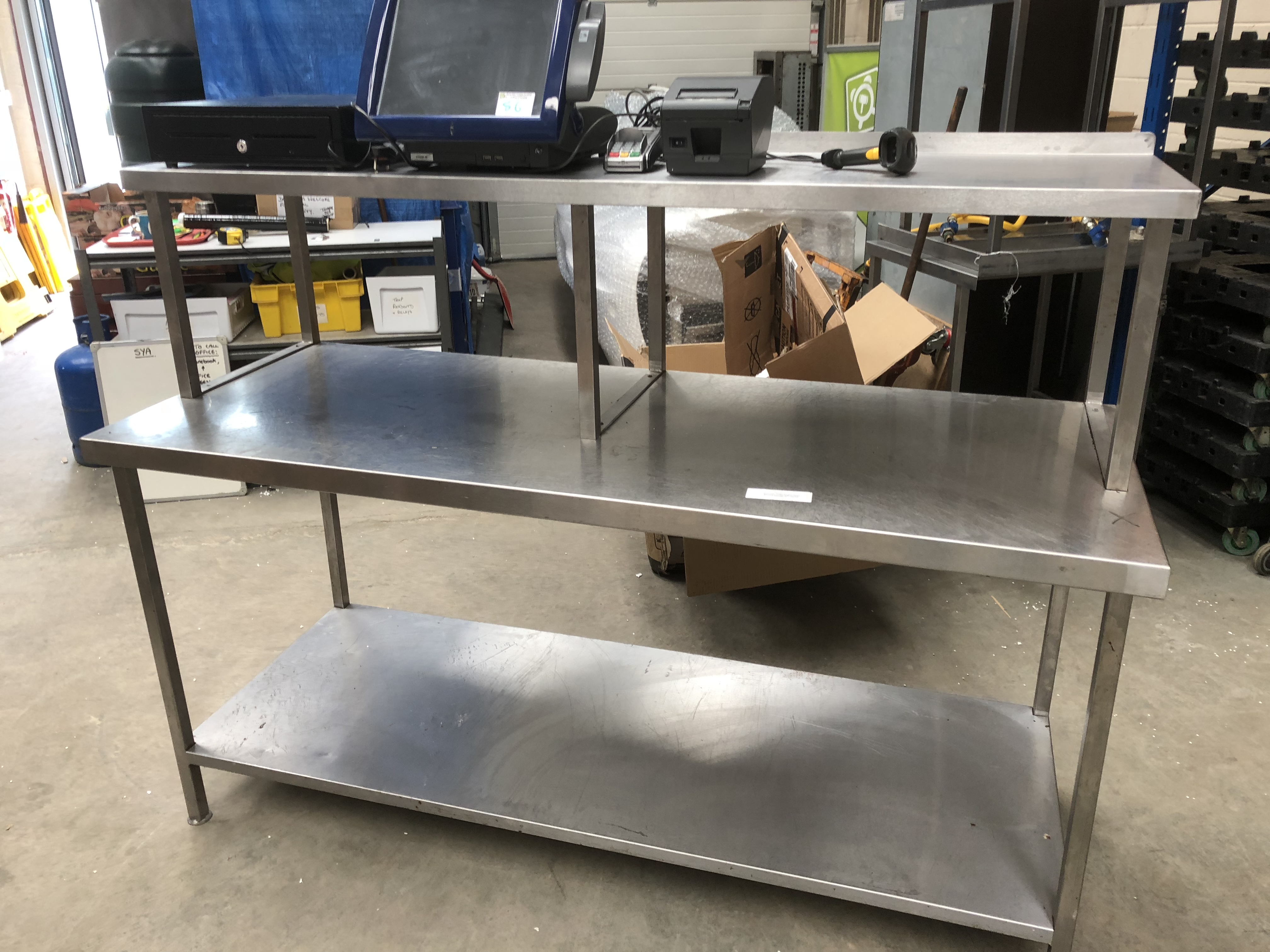 Lot 87 - Stainless Steel Table with Overhead Gantry
