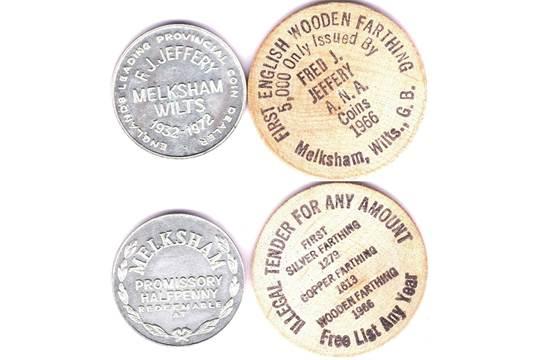 Tokens-Wiltshire 1972 half penny token - Melksham Wilts 1966, wooden