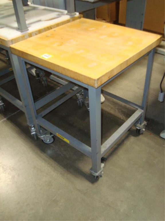 Mobile Butcher Block Top Tables - Image 3 of 14