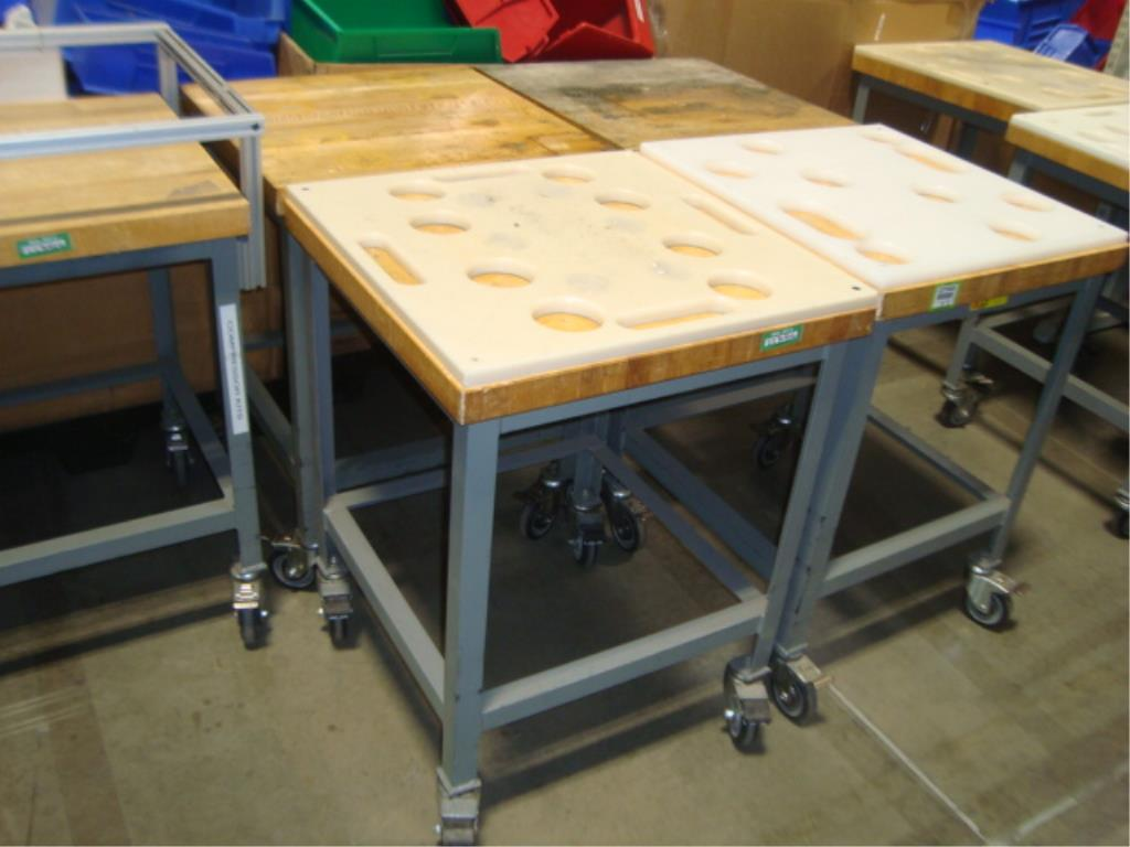 Mobile Butcher Block Top Tables - Image 3 of 16