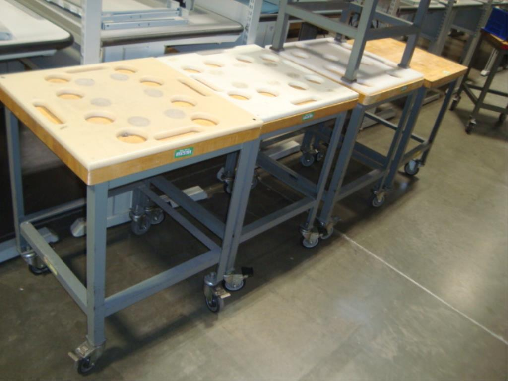 Mobile Butcher Block Top Tables - Image 12 of 14