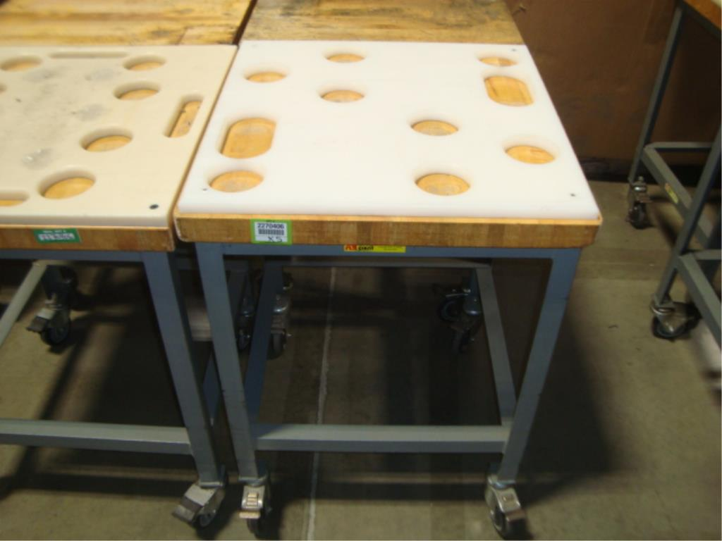 Mobile Butcher Block Top Tables - Image 11 of 16