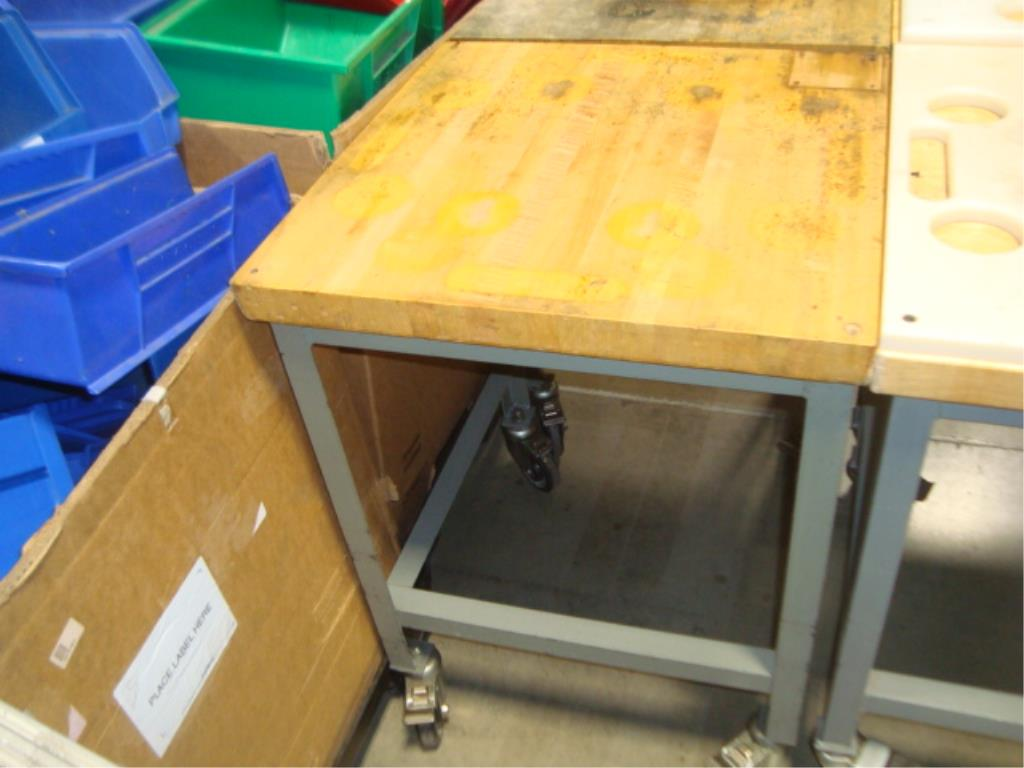 Mobile Butcher Block Top Tables - Image 9 of 16