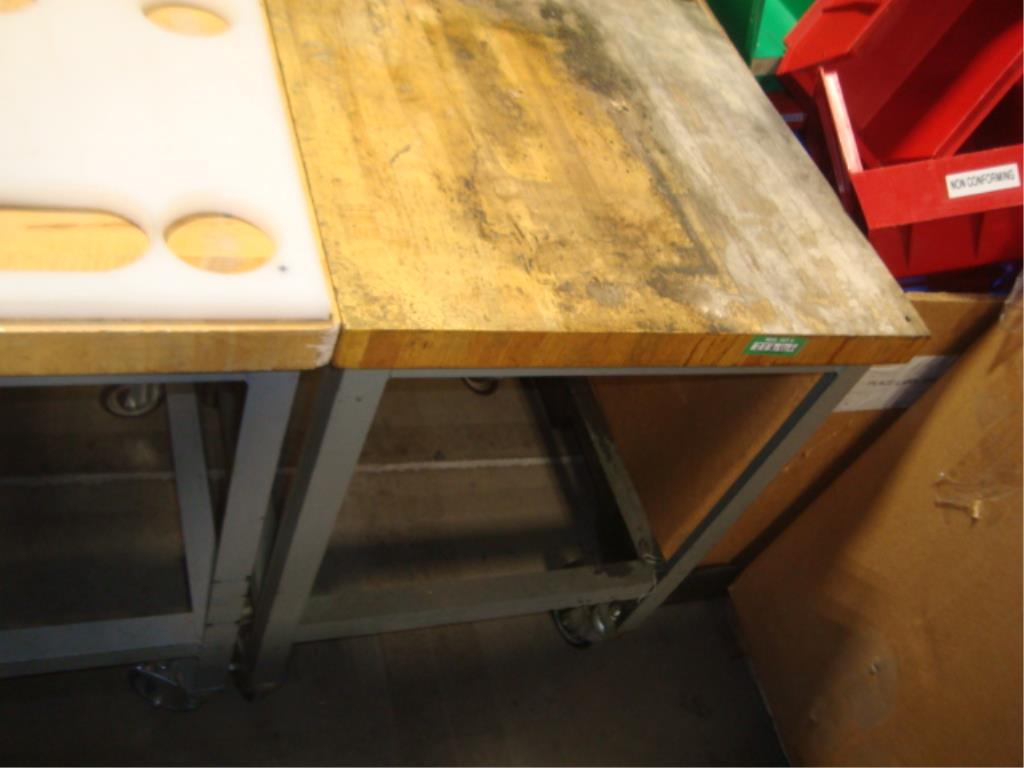 Mobile Butcher Block Top Tables - Image 13 of 16