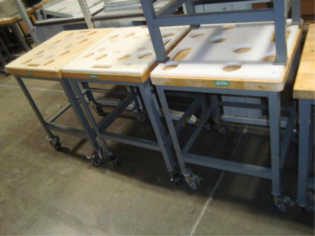 Mobile Butcher Block Top Tables - Image 6 of 14