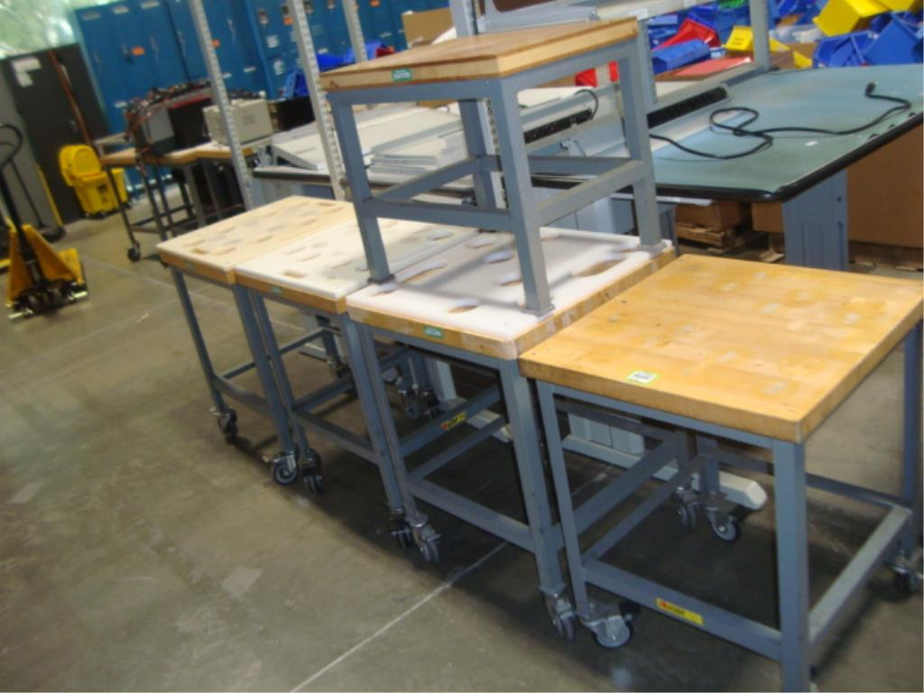 Mobile Butcher Block Top Tables - Image 2 of 14