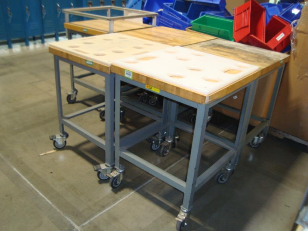 Mobile Butcher Block Top Tables - Image 2 of 16