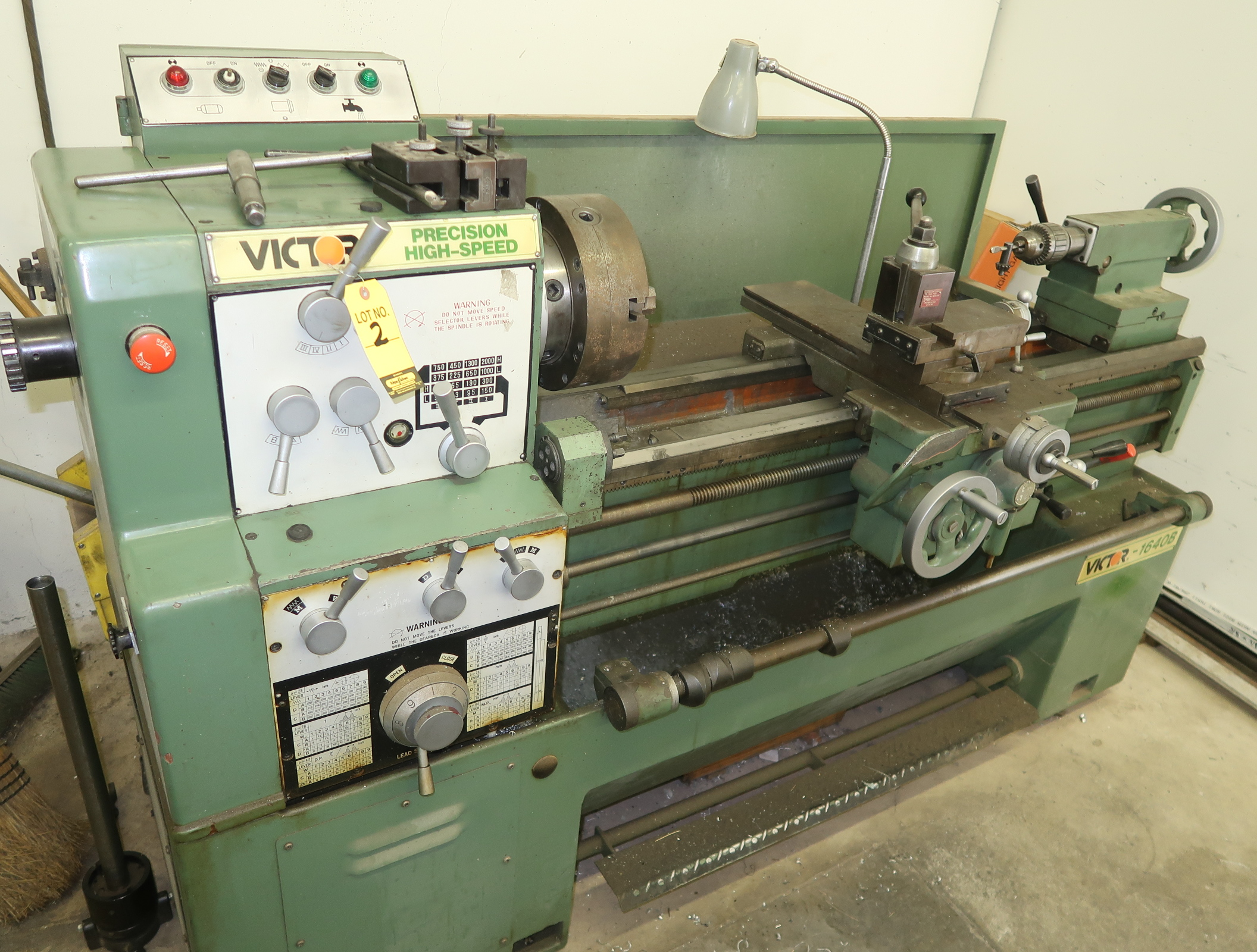 VICTOR 1640B GAP BED, HIGH SPEED ENGINE LATHE, SN. 19112123, COLLET CLOSURE, QUICK CHANGE TOOL POST, - Image 2 of 7