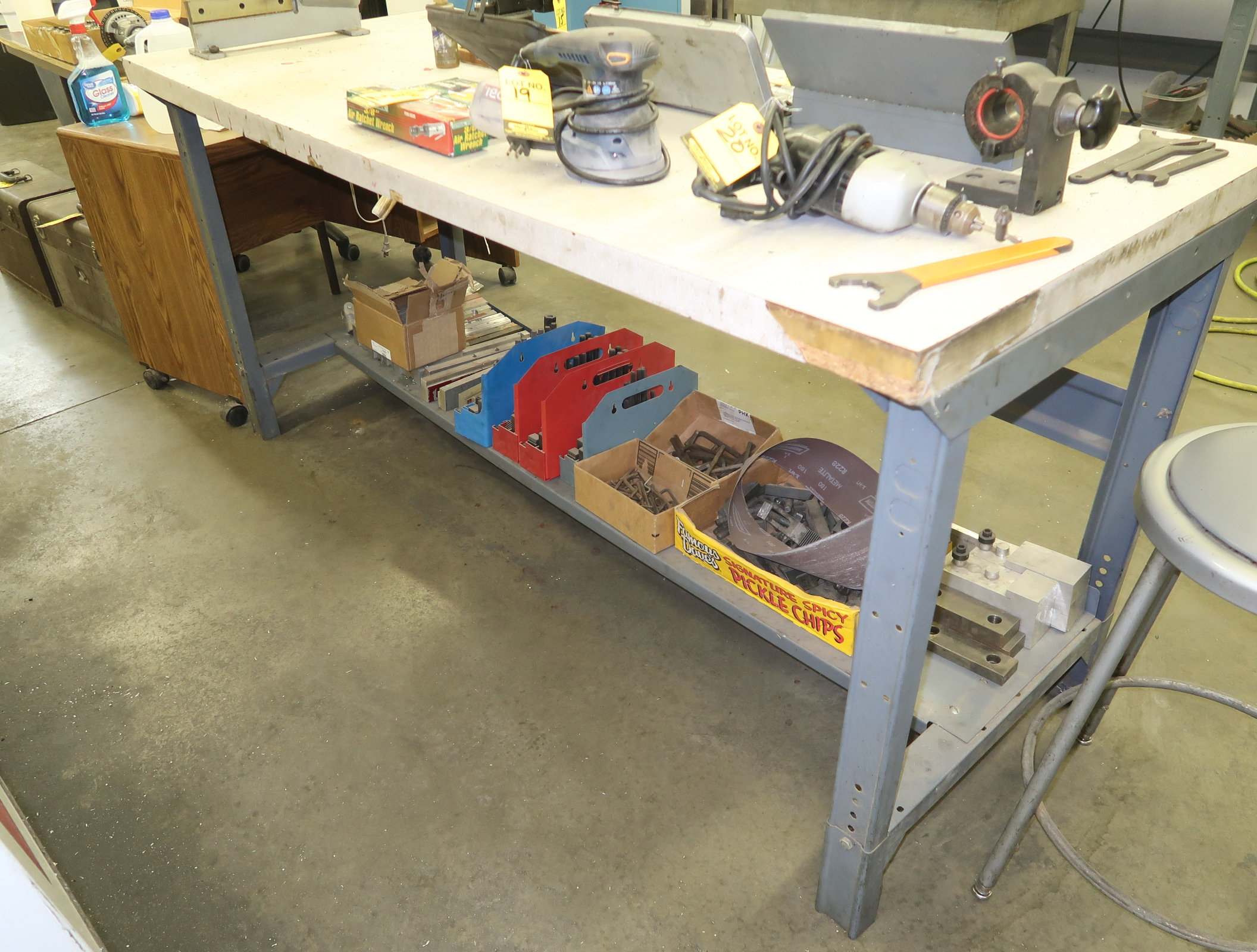 LOT SHOP TABLE W/ TOOL CLAMP KITS, ETC. UNDER TABLE