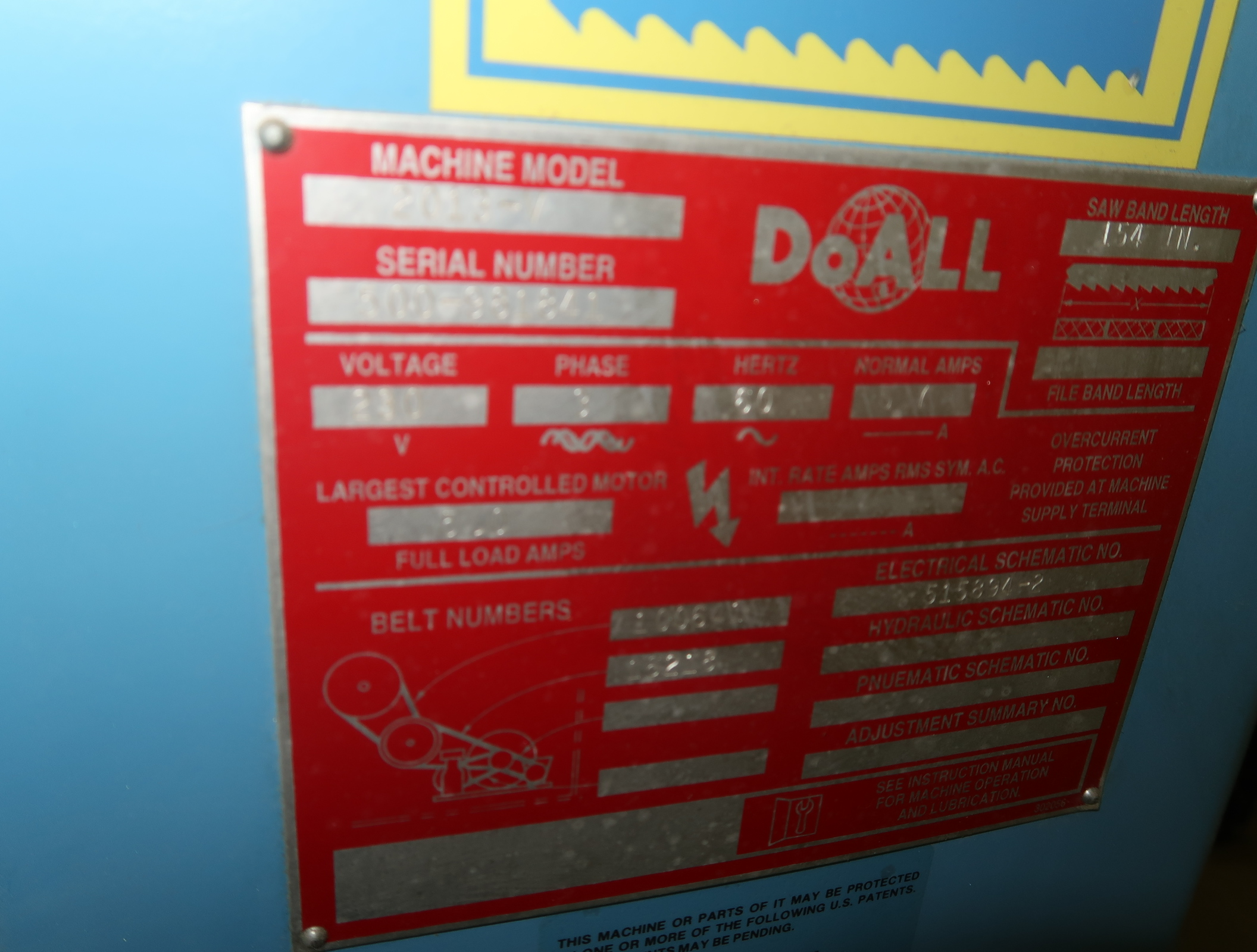 DOALL MDL. 2013V VERTICAL BAND SAW, SN. 500-981841 - Image 2 of 2