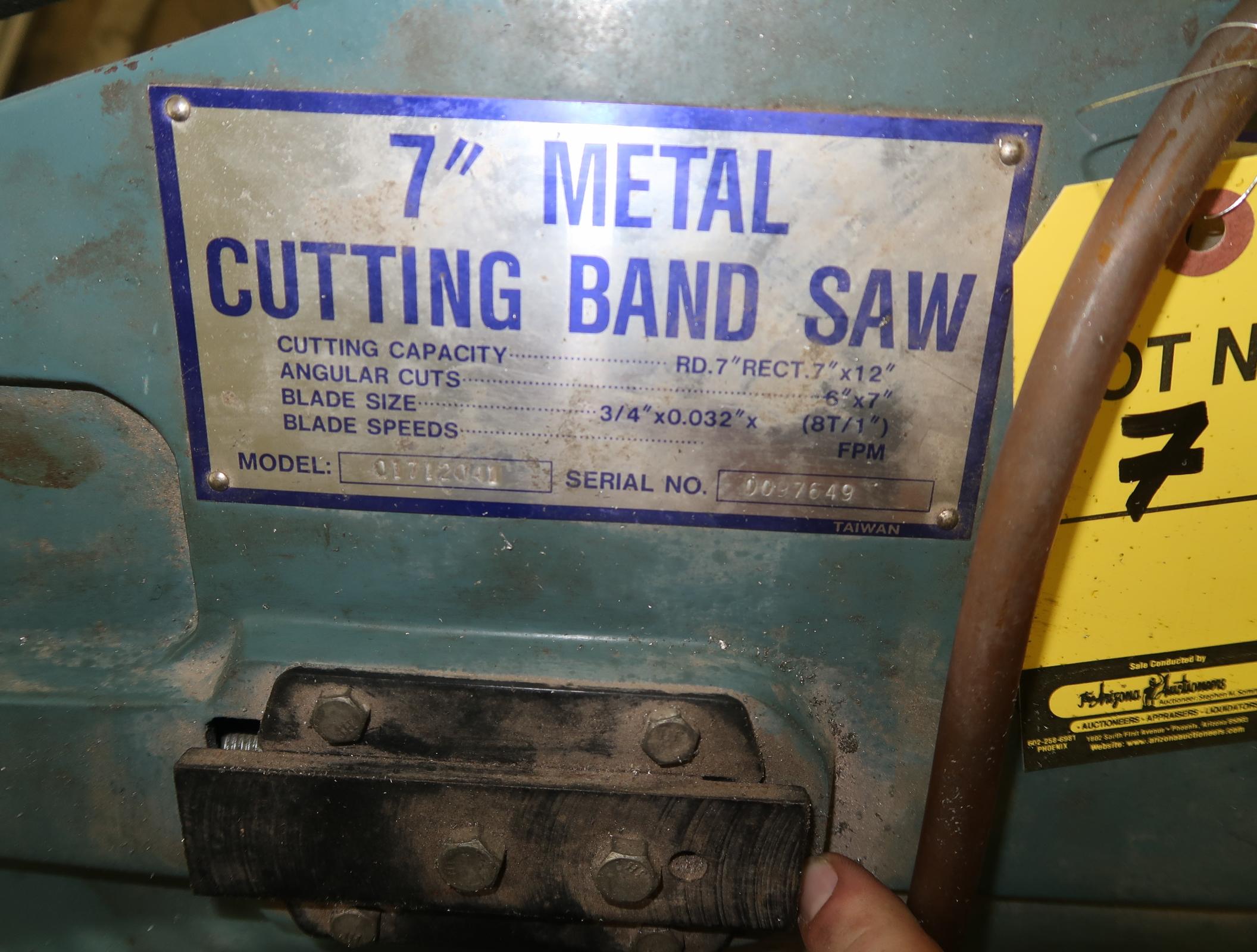 """TURN PRO 7"""" METAL CUTTINING UNIVERSAL BAND SAW, SN. 0097649 - Image 2 of 2"""